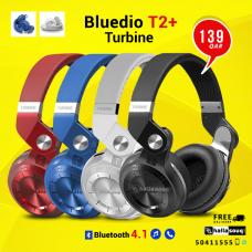 Bluedio T2 Plus Turbine, Hurricane Series, Wireless Bluetooth V4.1 + EDR Stereo Headphones Foldable with Microphone SD Card Slot