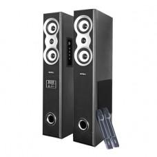 INTEX TOWER SPEAKER 2.0 CH 12800SUF BT(USB/BT/SD/MMC/FM/RC/DOUBLE CORDLESS MIC/KARAOKE), Black