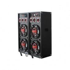 INTEX DJ SPEAKER 2.0 CH DJ-420K (USB/SD/MMC/FM/RC/BT/DOUBLE CORDLESS MIC/KARAOKE), Black