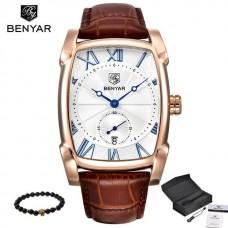 BR 001, Benyar Square Men Watch Business Waterproof Quartz Leather Wrist Watch Men Clock Male Relogio Masculino hodinky erkek kol saati