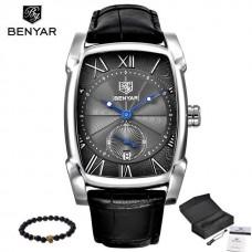 BR 002, Benyar Square Men Watch Business Waterproof Quartz Leather Wrist Watch Men Clock Male Relogio Masculino hodinky erkek kol saati