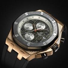 HM 001 Hemsut TORBOLLO Water Proof Men's Watch Quartz Watch Gold Case Rubber Band  Quartz Wrist Watch