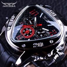 JG 001, Jaragar Sport Racing Design Geometric Triangle Design Genuine Leather Strap Mens Watches Top Brand Luxury Automatic Wrist Watch