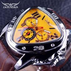 JG 002, Jaragar Sport Racing Design Geometric Triangle Design Genuine Leather Strap Mens Watches Top Brand Luxury Automatic Wrist Watch2
