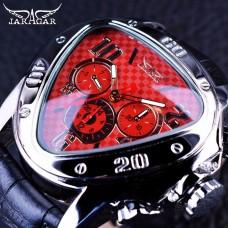 JG 003, Jaragar Sport Racing Design Geometric Triangle Design Genuine Leather Strap Mens Watches Top Brand Luxury Automatic Wrist Watch2