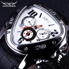 JG 004, Jaragar Sport Racing Design Geometric Triangle Design Genuine Leather Strap Mens Watches Top Brand Luxury Automatic Wrist Watch2