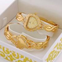 Dora Klein Luxury Crystal Diamond Quartz Women Watch and Bangle with original gift Box