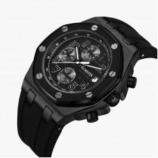 OCHSTIN BLACK Analog Quartz Watch Men Male Casual Fashion Sport Wristwatch Genuine Leather Strap Band Business Wrist Men Watch 6100