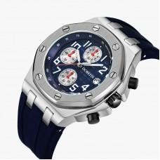 OCHSTIN BLUE Analog Quartz Watch Men Male Casual Fashion Sport Wristwatch Genuine Leather Strap Band Business Wrist Men Watch 6100