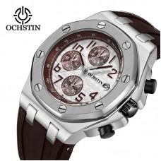 OCHSTIN BROWN Analog Quartz Watch Men Male Casual Fashion Sport Wristwatch Genuine Leather Strap Band Business Wrist Men Watch 6100