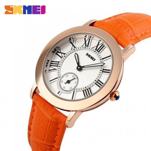 SKMEI SK 1083 Women Fashion Casual Quartz Watches Genuine Leather Strap Stainless Steel Ladies Wristwatches