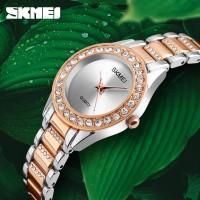 SKMEI SK 1262 Luxury Crystal Womens Wristwatches Ladies Stainless Steel Strap Watch Elegante Gold Quartz Watches