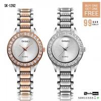 SKMEI SK 1262 Luxury Crystal Womens Wristwatches Ladies Stainless Steel Strap Buy 1 Get 1 Free @ 99QAR