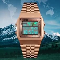 SK 019 SKMEI  World Time Sport  Wristwatch Stainless Steel- 1pc, 55QAR