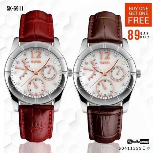 SKMEI SK 6911 quartz watch ladies luxury watches Buy 1 Get 1 Free @ 89QAR