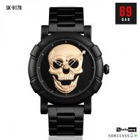 SKMEI SK 9178 Skull Quartz Men's Watch Men Creativity Watches Stainless Steel Male Water Resistant Wristwatch