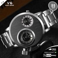 V6 Two Time Zone Silver Steel Watches Men Sports Quartz Hours Unique Luxury Design Men Casual Wristwatch relogio masculino