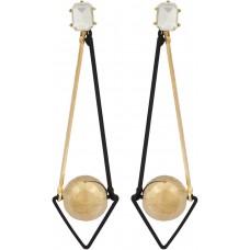 Blueberry Women's Metal and Glass Black/Gold Metal Drop Earrings