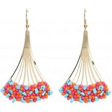 Blueberry Women's Gold Toned Multi Coloured Beaded Drop Earrings