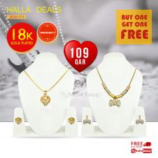 Ladies DCG 11118K Gold Plated design Pendant 3 Piece Set- buy 1 get 1 free