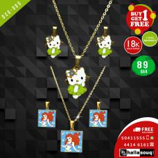 DCG 005 HELLO KITTY &  MERMAID Cartoon Necklace Earrings Set for children's Girls