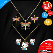 DCG 006 HELLO KITTY &  DRAGON FLY Cartoon Necklace Earrings Set for children's Girls