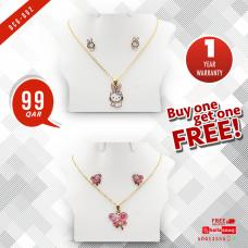 DCG 002 BUNNY &  BUTTERFLY Cartoon Necklace Earrings Set for children's Girls