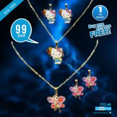 DCG 004 HELLO KITTY &  BUTTERFLY Cartoon Necklace Earrings Set for children's Girls