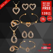 DCG 101 Fashion Necklace Earrings & Bracelet Set for women, buy 1 get 1 free @139 QAR