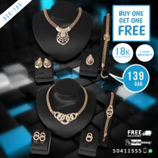 DCG 105 Fashion Necklace Earrings & Bracelet Set for women, buy 1 get 1 free @149 QAR