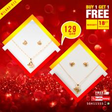 MI 013 Milano Fashion  Jewelry 18K Gold Plated Buy 1 & Get 1 Free @129 QAR