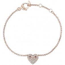 Fossil Women's Stainless Steel Rose Gold Glitz Heart Bracelet - JF02283791