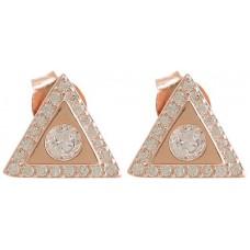 Silver Women's CZ Stud Earring - 1 cm