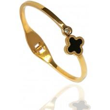 Crystal Black Gold Plated Bangle Bracelet Inspired Fashion Jewelry