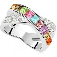 Swarovski Elements 18K White Gold Plated Multi color Ring - Size 6.5