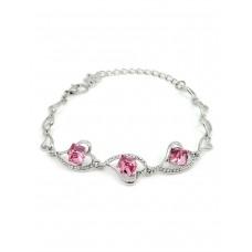 Swarovski Elements Women's Heart Link Crystal Stone Design Bracelet - SWR-087