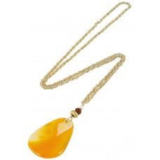 Trinketree Women's Alloy Shaded Orange Agate Stone Necklace - 18 Inch