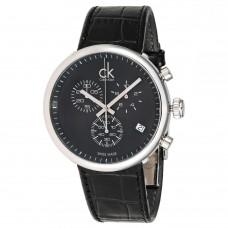Calvin Klein Substantial Men's Black Dial Leather Band Chronograph Watch - K2N281C1
