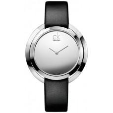 Calvin Klein Aggregate Women's Silver Dial Leather Band Watch - K3U231C8