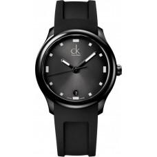Calvin Klein Men's Black Dial Rubber Band Watch - K2V214D1