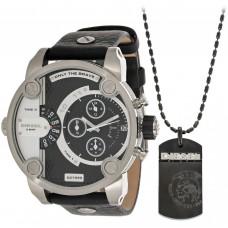 Diesel Men's Black Dial Leather Band Chronograph Watch & Necklace Set - DZ7290