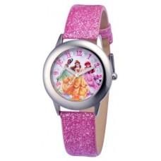 Disney Kids' W000408 Disney Tween Glitz Princess Stainless Steel Pink Glitter Leather Strap Watch