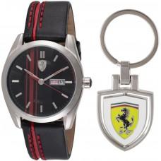 Ferrari Scuderia Men's Black Dial Leather Band Watch - 870005