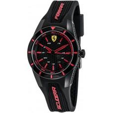 Ferrari Scuderia RedRev Unisex Black Dial Silicone Band Watch - 840004