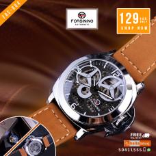 FRS 004 Forsining Windmill Designer Brown Suede Strap Men Watch Top Brand Luxury Automatic Skeleton Watch Sport Military Watch Men