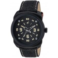 Fastrack OTS Explorer Men's Black Dial Leather Band Watch - T9463AL08