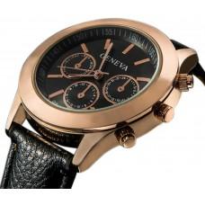 Geneva Men's Black Casual Watch Leather Strap