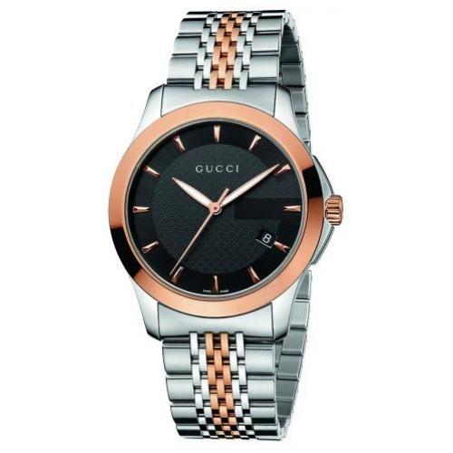 b6b21e567ae Gucci Men s YA126410 Gucci timeless Steel and Pink PVD Black Dial Watch