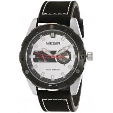 Megir Men's Silver Dial Leather Band Watch - M1063G-BK