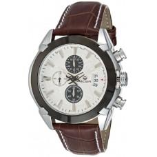 Megir Men's Silver Chronograph Dial Leather Band Watch - M2020BR